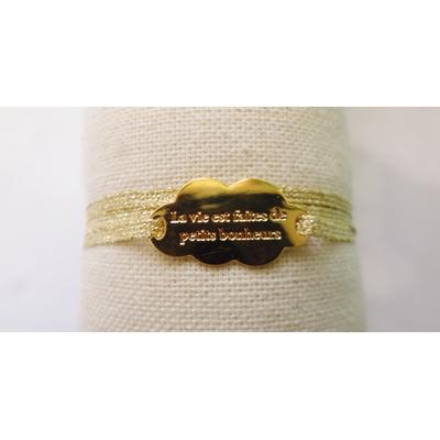 bracelet  médaille LA VIE EST FAITE DE PETITS BONHEURS plaqué or jaune 3 brins or jaune clair LA BELLE SIMONE