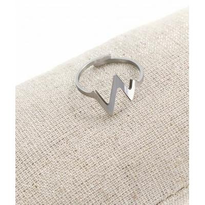 Bague réglable battements coeur argent  pendentif  1.3cm x 1.3cm acier inoxydable - Milë Mila