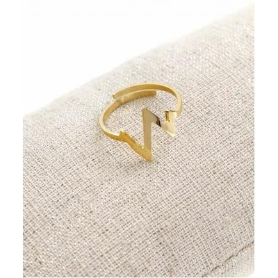 Bague réglable battements coeur doré pendentif  1.3cm x 1.3cm acier inoxydable - Milë Mila