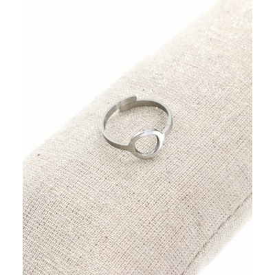 Bague réglable anneau argent  pendentif  1.0cm x 1.0cm acier inoxydable - Milë Mila