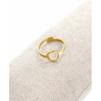 Bague réglable anneau doré pendentif  1.0cm x 1.0cm acier inoxydable - Milë Mila