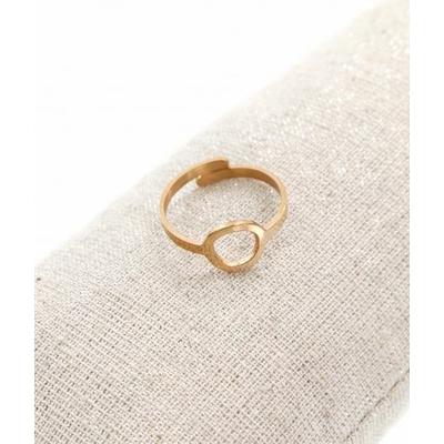 Bague réglable anneau or rose pendentif  1.0cm x 1.0cm acier inoxydable - Milë Mila