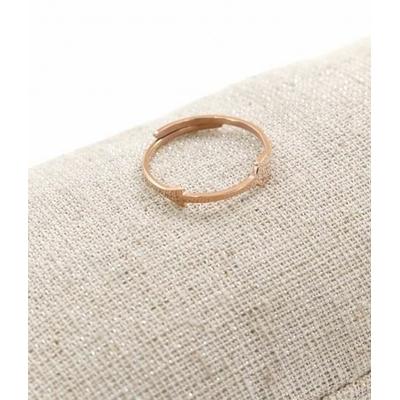 Bague réglable flèche fine or rose pendentif  0.4cm x 1.6cm acier inoxydable - Milë Mila