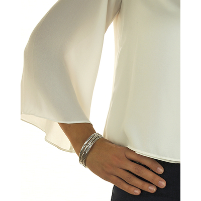 Bracelet jonc modèle PLUMES en zamak argent SHABADA