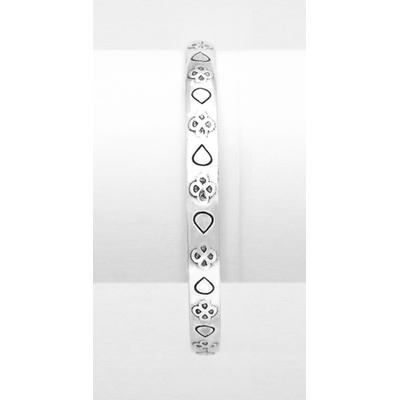 Bracelet jonc modèle ROSACE en zamak argent SHABADA