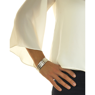 Bracelet jonc modèle LUNE en zamak argent SHABADA