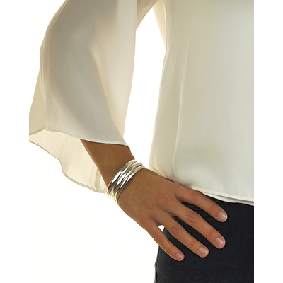 Bracelet jonc modèle AMANDINE en zamak argent SHABADA