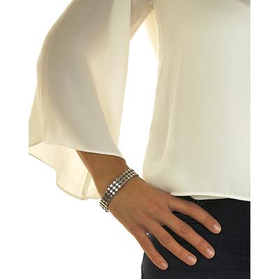 Bracelet jonc modèle GROSSES ÉTOILES en zamak argent SHABADA