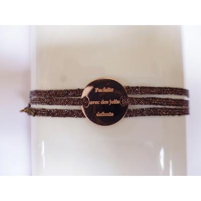 bracelet  médaille PARFAITE AVEC DE JOLIS DEFAUTS plaqué or rose 3 brins kaki doré LA BELLE SIMONE