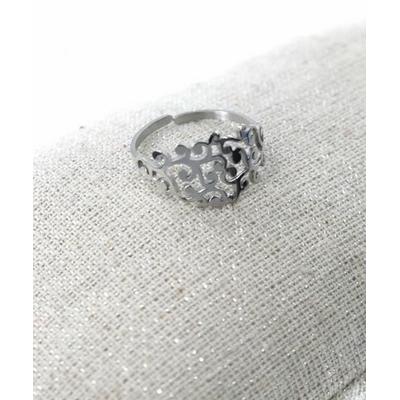 Bague réglable feuillage argent  pendentif H1.50cm  L0.70cm acier inoxydable - Milë Mila