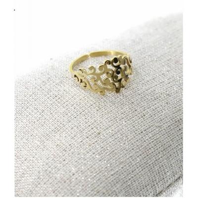 Bague réglable feuillage doré pendentif H1.50cm  L0.70cm acier inoxydable - Milë Mila