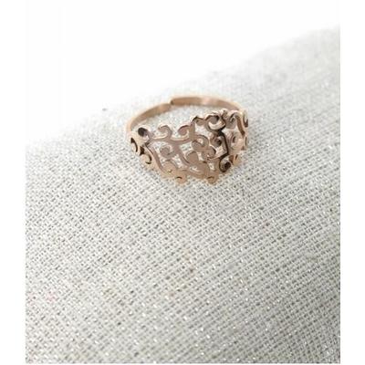 Bague réglable feuillage or rose pendentif H1.50cm  L0.70cm acier inoxydable - Milë Mila