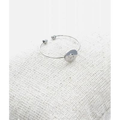 Bague réglable étoile dans cercle argent pendentif H0.60cm  L0.6cm cm acier inoxydable - Milë Mila