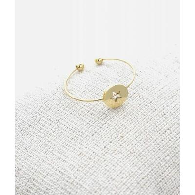Bague réglable étoile dans cercle doré pendentif H0.60cm  L0.6cm cm acier inoxydable - Milë Mila