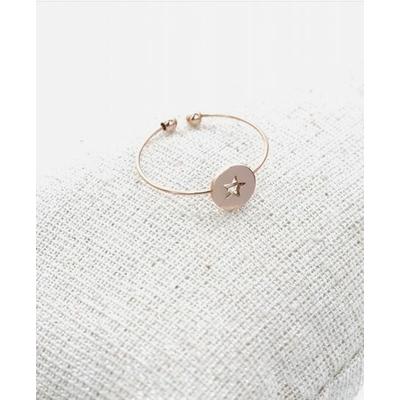 Bague réglable étoile dans cercle or rose pendentif H0.60cm  L0.6cm cm acier inoxydable - Milë Mila