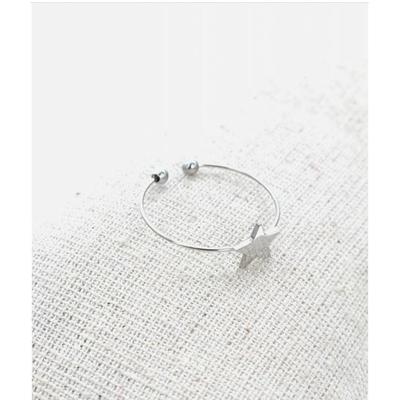 Bague réglable étoile argent pendentif H0.80cm  L0.8cm acier inoxydable - Milë Mila
