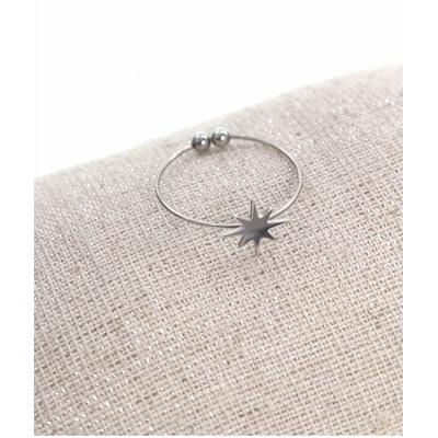 Bague réglable étoile filante argent  pendentif 0.80cm x 0.80cm acier inoxydable - Milë Mila