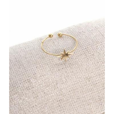 Bague réglable étoile filante doré pendentif 0.80cm x 0.80cm acier inoxydable - Milë Mila