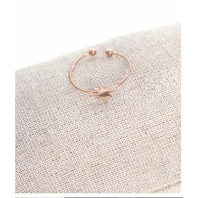 Bague réglable étoile filante or rose pendentif 0.80cm x 0.80cm acier inoxydable - Milë Mila