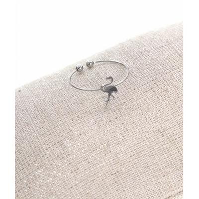 Bague réglable flamant rose argent  pendentif 1.00cm x 0.50cm acier inoxydable - Milë Mila