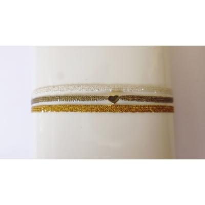 Bracelet 3 brins coeur passementerie degrade fils d'or et d'argent LA BELLE SIMONE