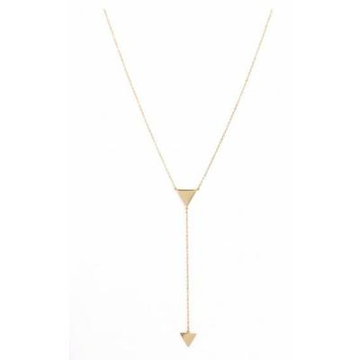 Collier 2 triangles doré Lg 37cm + 5cm rallonge pendentif H1.50cm L9.00cm acier inoxydable - Mile Mila