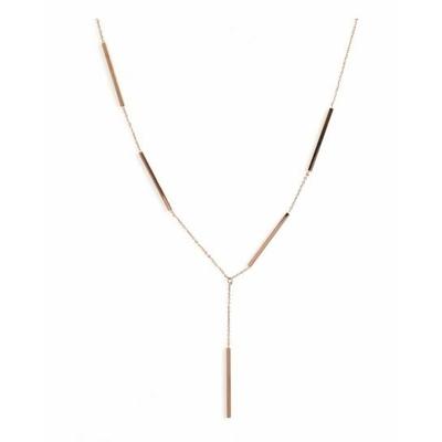 Collier 5 baguettes or rose Lg 37cm + 5cm rallonge acier inoxydable - Mile Mila