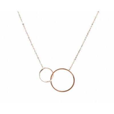 Collier 2 anneaux entrelacés or rose Lg 37cm + 5cm rallonge pendentif diamètres  2,3cm et 1,4cm acier inoxidable - Mile Mila
