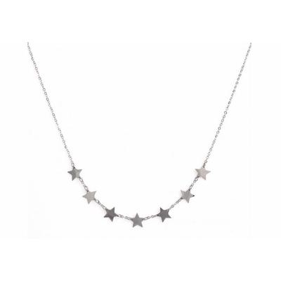 Collier 7 étoiles argent Lg 37cm + 5cm rallonge pendentif H 0.70cm L0.70cm acier inoxydable - Mile Mila