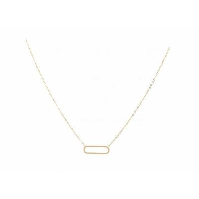 Collier ovale doré Lg 37cm + 5cm rallonge pendentif H 0.50cm L2.00cm acier inoxydable - Mile Mila