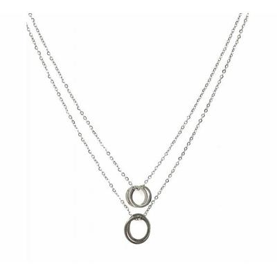 Collier 4 cercles argent Lg 37cm + 5cm rallonge pendentif H1.00cm L1.00cm acier inoxydable - Mile Mila