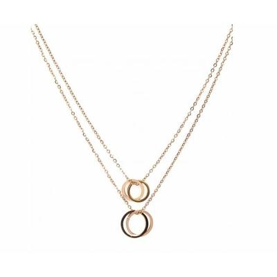 Collier 4 cercles or rose Lg 37cm + 5cm rallonge pendentif H1.00cm L1.00cm acier inoxydable - Mile Mila