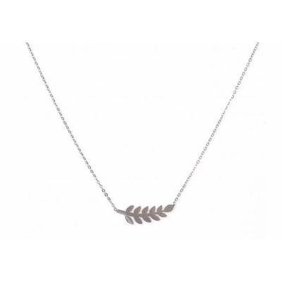 Collier 11 feuilles argent Lg 37cm + 5cm rallonge pendentif H 0,70cm  L 2,50cm acier inoxydable - Mile Mila