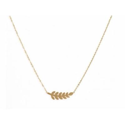 Collier 11 feuilles doré Lg 37cm + 5cm rallonge pendentif H 0,70cm  L 2,50cm acier inoxydable - Mile Mila