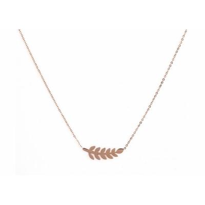 Collier 11 feuilles or rose Lg 37cm + 5cm rallonge pendentif H 0,70cm  L 2,50cm acier inoxydable - Mile Mila