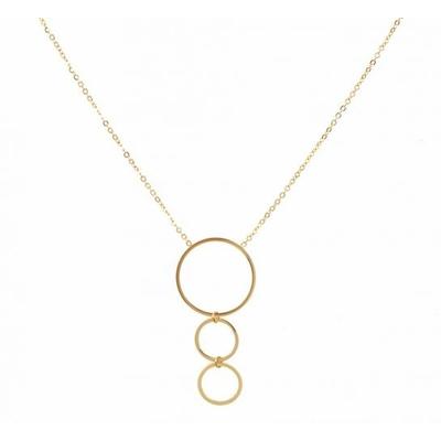 Collier 3 anneaux doré Lg 37cm + 5cm rallonge pendentif H 4.00cm L2.00cm acier inoxydable - Mile Mila