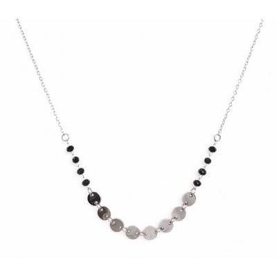 Collier 8 pastilles et cristaux argent Lg 37cm + 5cm rallonge pendentif H 0.50cm L0.50cm acier inoxydable - Mile Mila