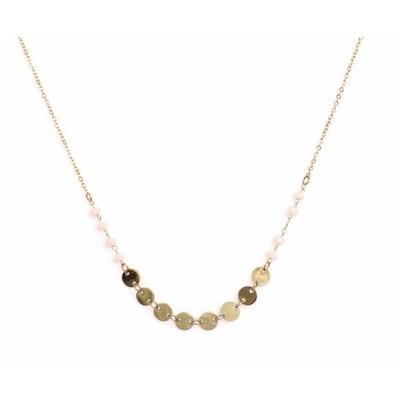 Collier 8 pastilles et cristaux doré Lg 37cm + 5cm rallonge pendentif H 0.50cm L0.50cm acier inoxydable - Mile Mila