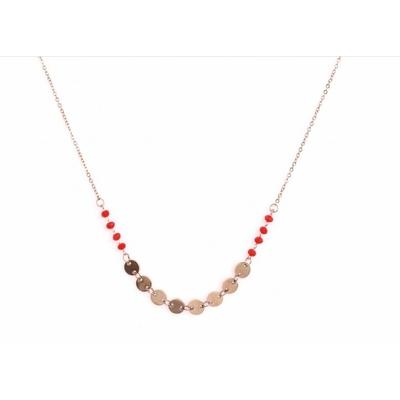 Collier 8 pastilles et cristaux or rose Lg 37cm + 5cm rallonge pendentif H 0.50cm L0.50cm acier inoxydable - Mile Mila