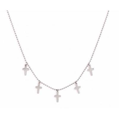 Collier 5 croix argent Lg 37cm + 5cm rallonge pendentif H 1.10cm L0.70cm acier inoxydable - Mile Mila