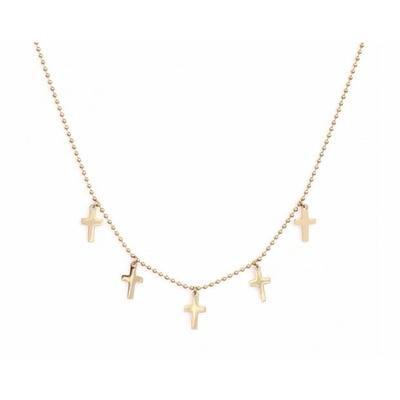 Collier 5 croix doré Lg 37cm + 5cm rallonge pendentif H 1.10cm L0.70cm acier inoxydable - Mile Mila