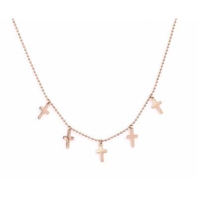 Collier 5 croix or rose Lg 37cm + 5cm rallonge pendentif H 1.10cm L0.70cm acier inoxydable - Mile Mila