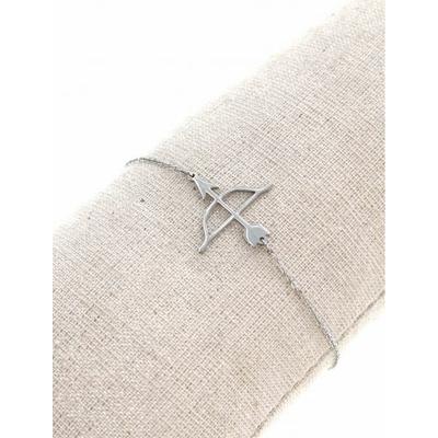 Bracelet arc & flèche argent avec chaine de sécurité pendentif H1.00cm L2.50cm acier inoxydable - Mile Mila