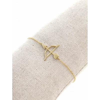 Bracelet arc & flèche doré avec chaine de sécurité pendentif H1.00cm L2.50cm acier inoxydable - Mile Mila
