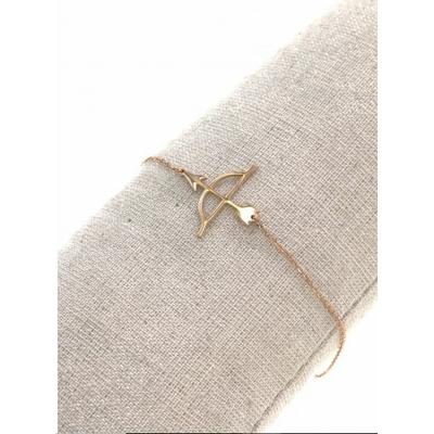 Bracelet arc & flèche or rose avec chaine de sécurité pendentif H1.00cm L2.50cm acier inoxydable - Mile Mila