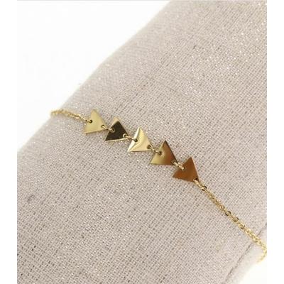 Bracelet triangles doré avec chaine de sécurité pendentif H0.60cm L0.60cm acier inoxydable - Mile Mila