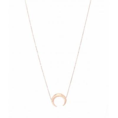 Sautoir demi-lune or rose Lg 75cm + 5cm rallonge pendentif H 2.00cm L2.00cm acier inoxydable - Mile Mila