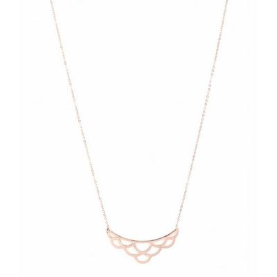 Sautoir écailles or rose Lg 75cm + 5cm rallonge pendentif H 1.60cm L 4.60cm acier inoxydable - Mile Mila