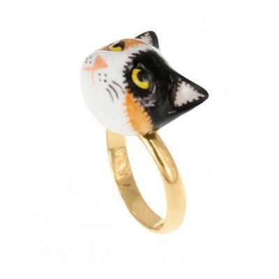 Bague ajustable chat noir brun et blanc réf BB36 - Nach