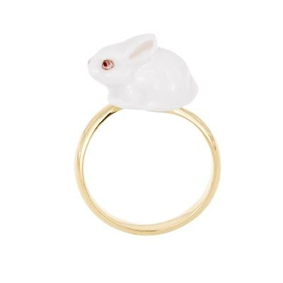 Bague ajustable lapin blanc réf BB26 - Nach